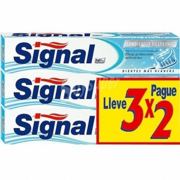 Signal Dentífrico blanqueador bicarbonato 3x2 de 75ml